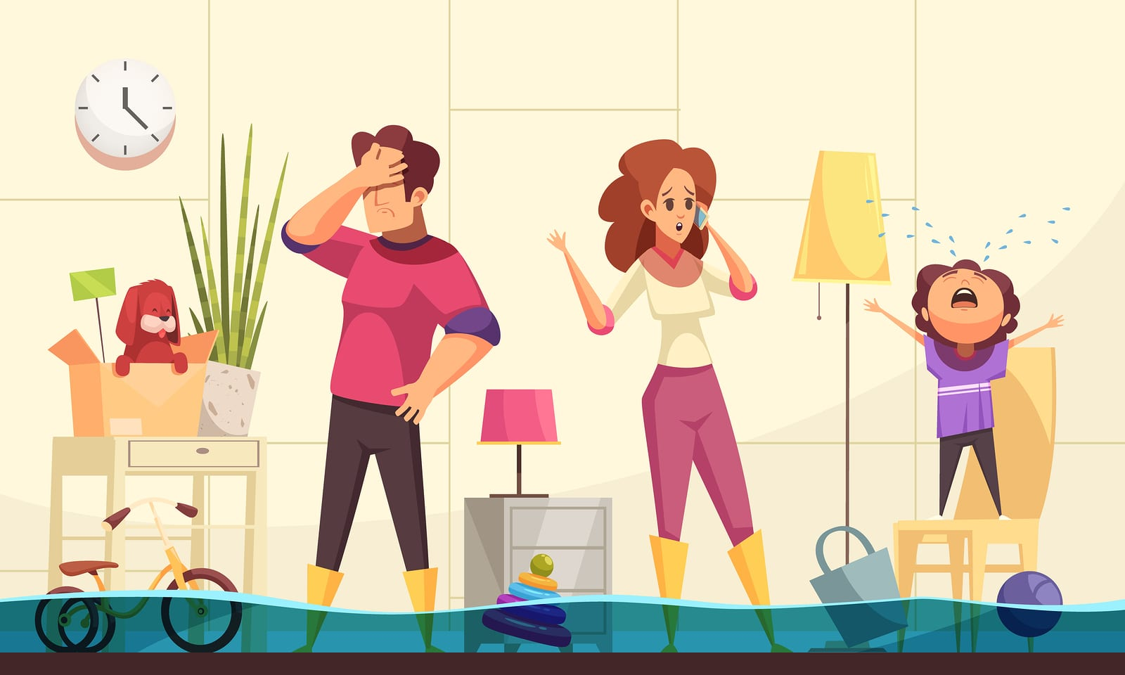 Flooded house emergency flat cartoon image with family home calling plumber to fix burst pipes vector illustration