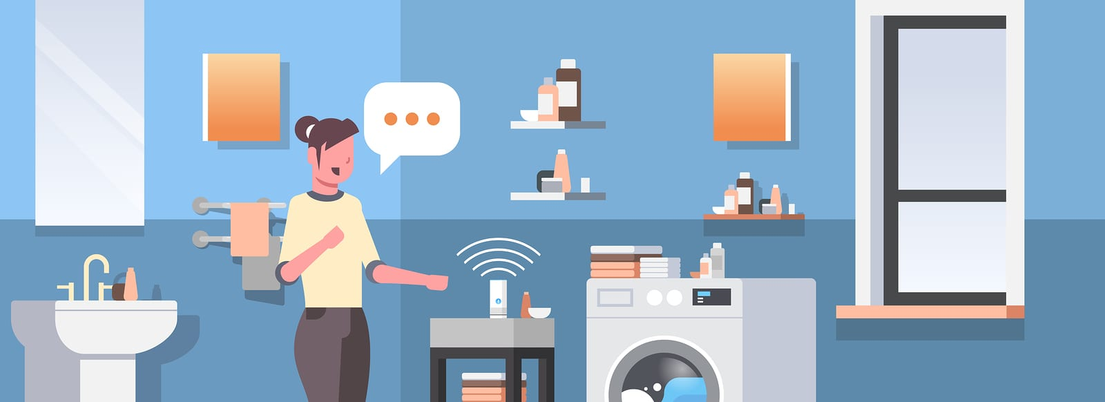 housewife using smart speaker voice recognition activated digital assistants automated command report concept modern bathroom interior flat horizontal portait