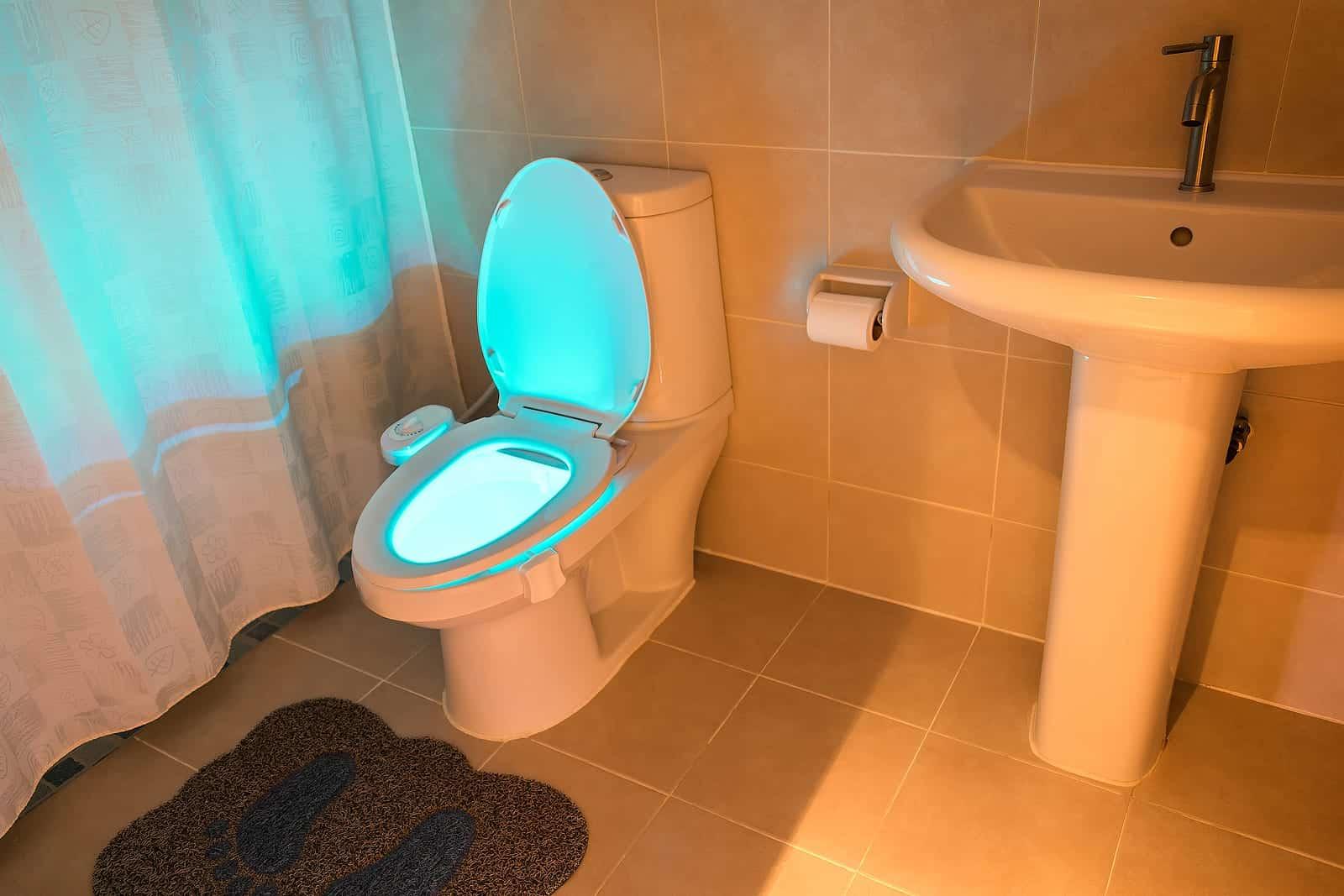 Toilet that Glows in a Standard Modern Bathroom